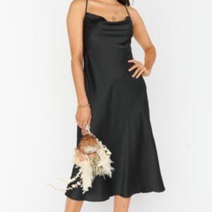 SMYM Verona Cowl Black Luxe Satin Dress XXS